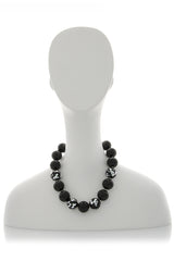 KENNETH JAY LANE SILVER SCRAPED Beads Necklace