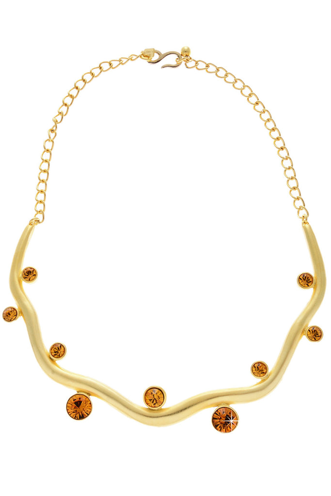 KENNETH JAY LANE SOFIA Gold Crystal Necklace