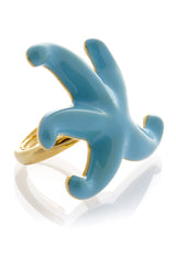 KENNETH JAY LANE STARFISH Turquoise Enamel Ring
