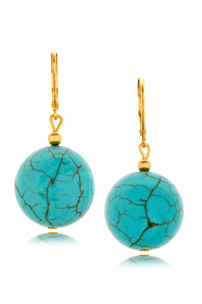 KENNETH JAY LANE STILIA Turquoise Stone Round Earrings