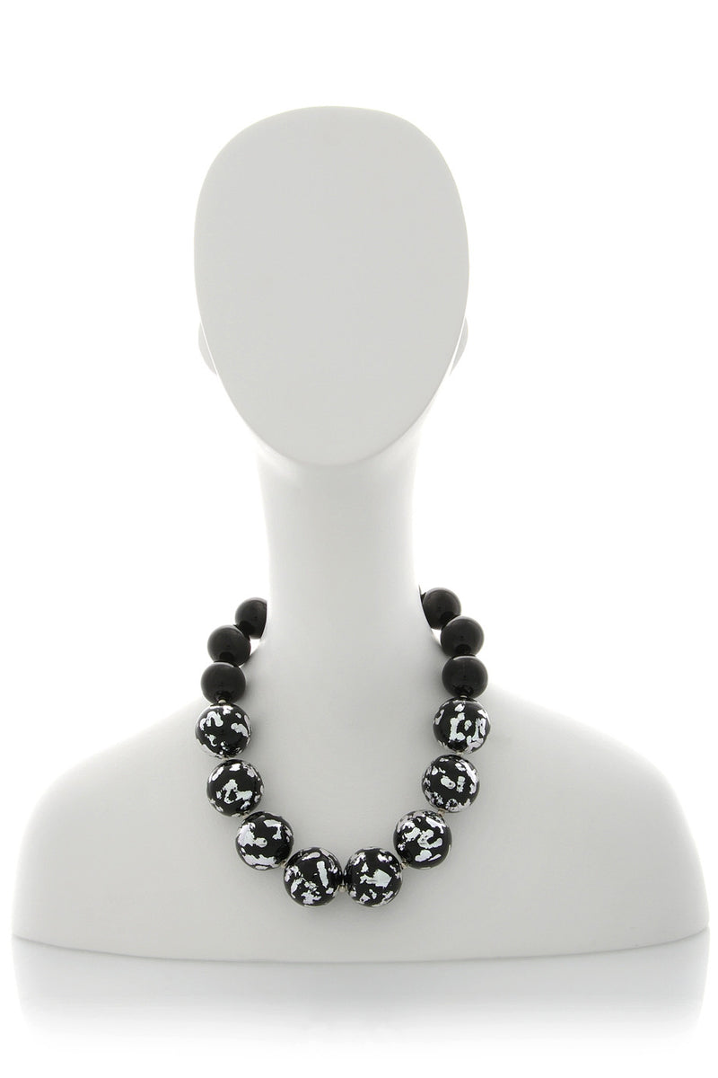 KENNETH JAY LANE Silver Scraped Large Beads Necklace