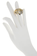 KENNETH JAY LANE TIGER Gold Crystal Ring