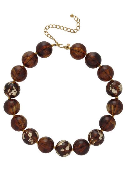 KENNETH JAY LANE TORTOISE Gold Scraped Beads Necklace