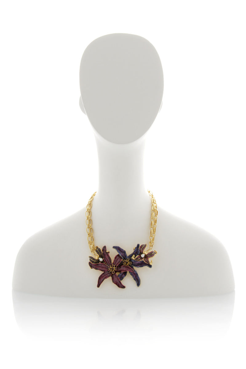 KENNETH JAY LANE TRITONE Flower Necklace