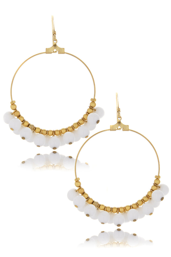 KENNETH JAY LANE WHITE CLUSTER Beads Earrings