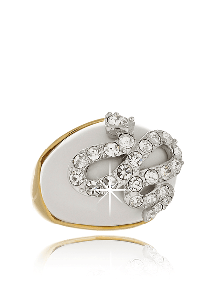 KENNETH JAY LANE White Crystal Snake Ring