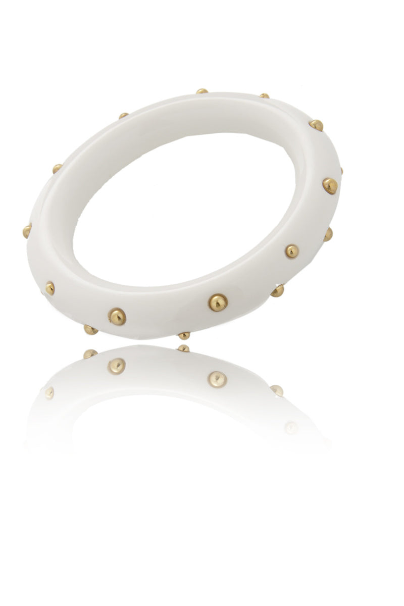 KENNETH JAY LANE White Resin Beads Bangle