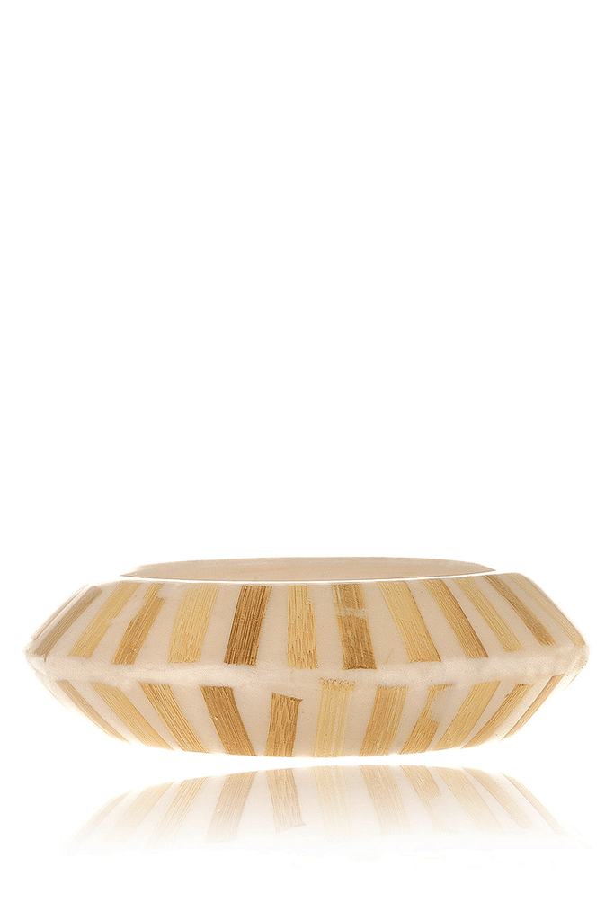 KENNETH JAY LANE ZEBRA Cream Resin Bangle