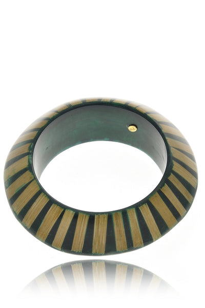 KENNETH JAY LANE ZEBRA Green Resin Bangle