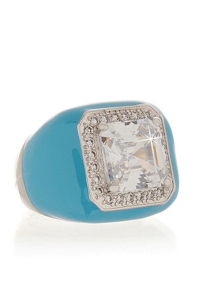 KENNETH JAY LANE ZIRCONIA Turquoise Crystal Cocktail Ring