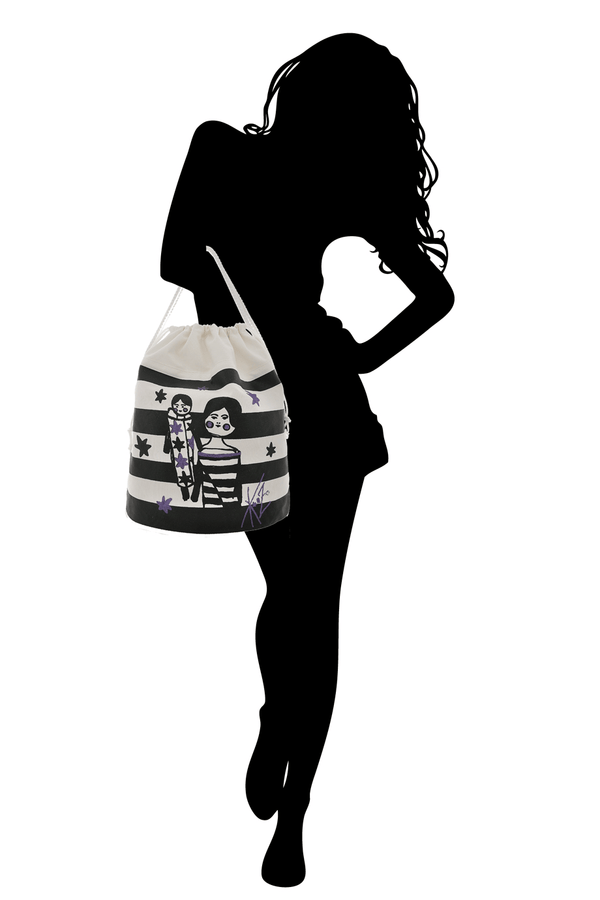 GIRLY STRIPED Drawstring Bag