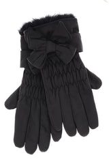 LALU - ADORIA Black Bow Waterproof Women Gloves