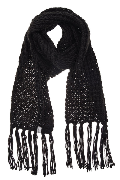 BERN Black Wool Fringed Woman Scarf