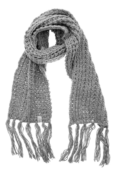 BERN Grey Wool Fringed Woman Scarf