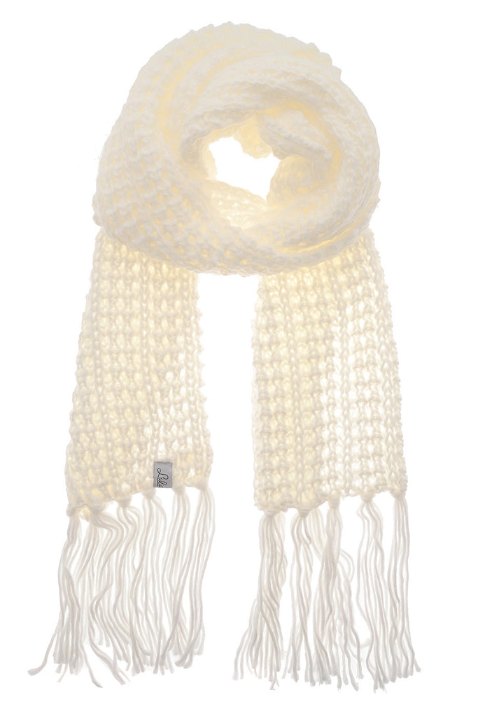 BERN Ivory Wool Fringed Woman Scarf