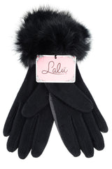 CHALET Black Fur Women Gloves