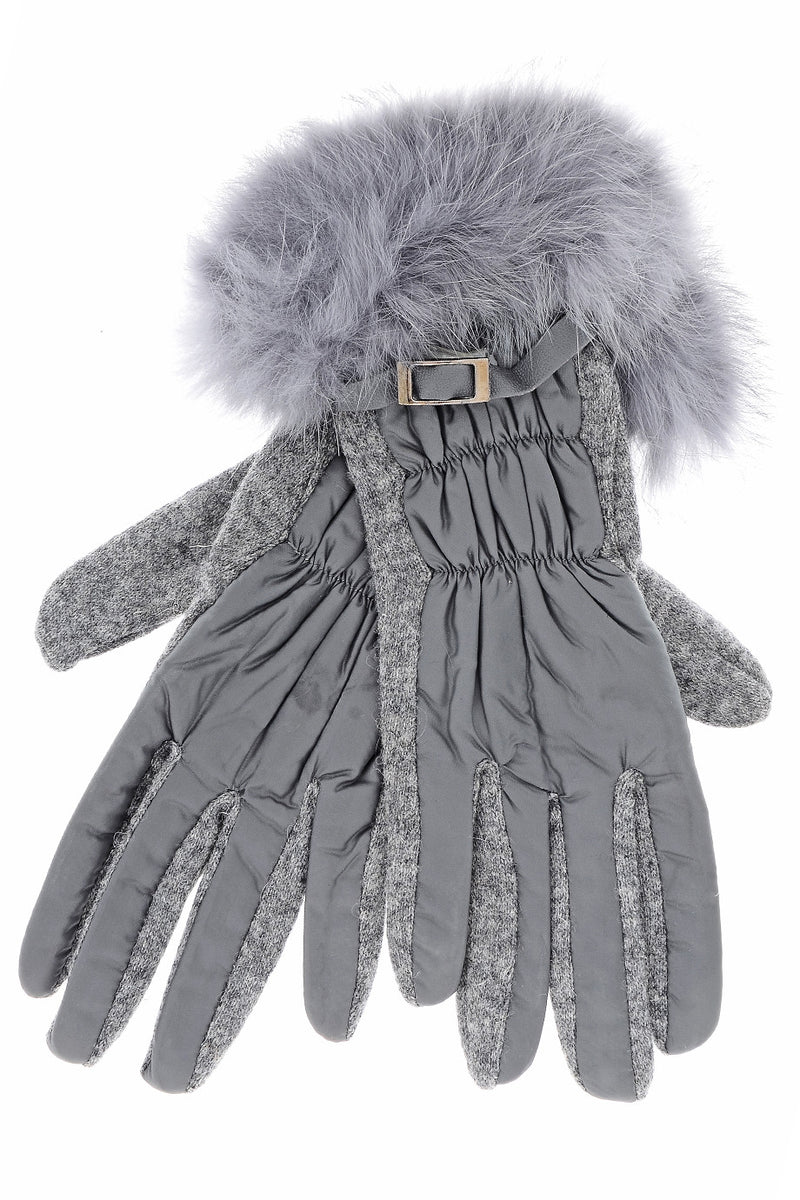 CHALET Grey Fur Wool Women Gloves
