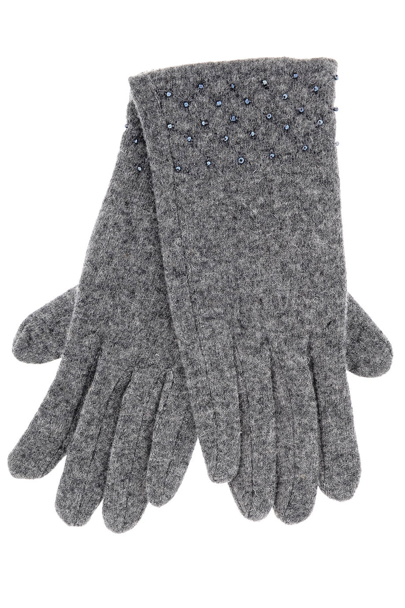 ERILIA Grey Beads Wool Women Gloves