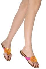FLOWER FUSHION Fuchsia Sandals