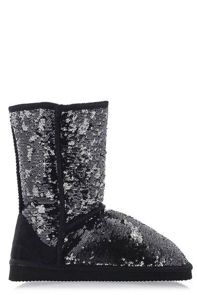GLAMOROUS Black Sequined Boots