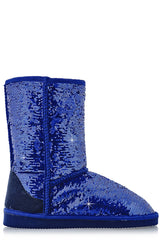 GLAMOROUS Blue Sequined Boots