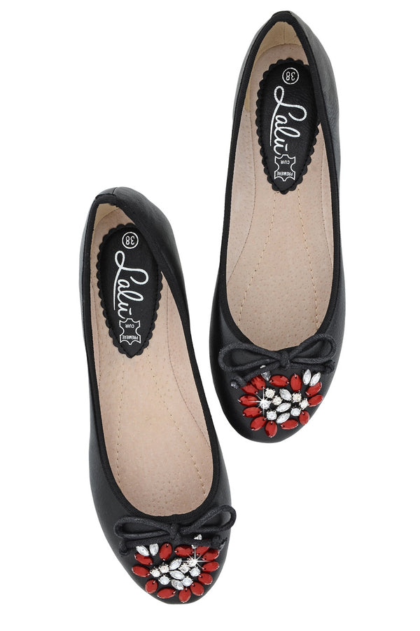JEMINA Black Crystal Ballerinas