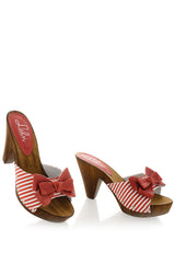 LICIA Red Striped Clogs