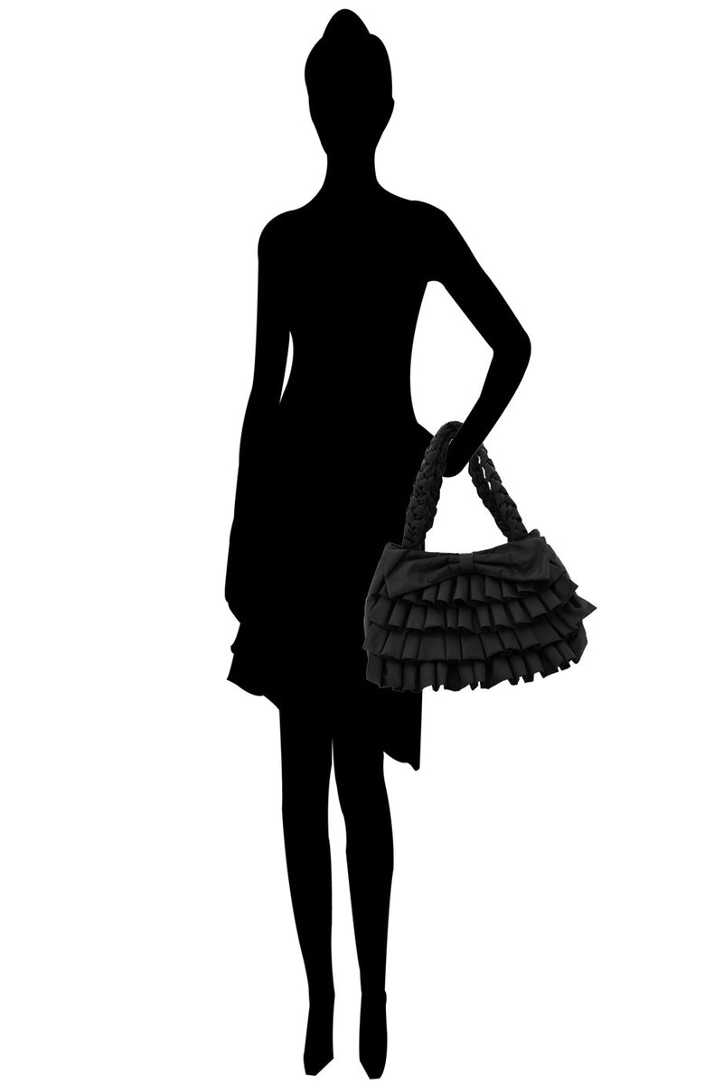 MELODY Black Ruffled Bag