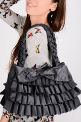 MELODY Grey Ruffled Bag