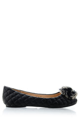 POPCORN Black Quilted Ballerinas