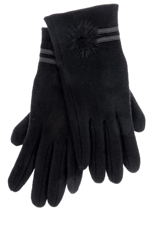 POPCORN Black Wool Women Gloves