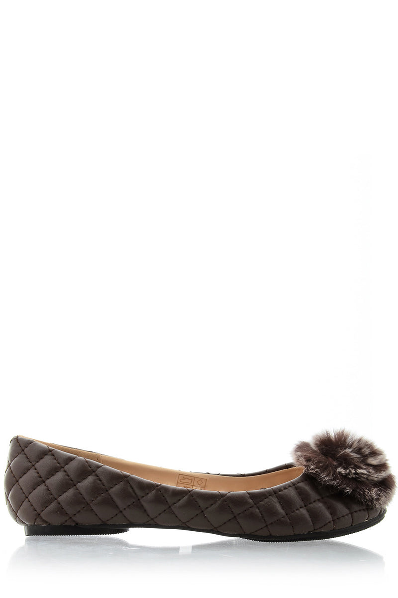 POPCORN Brown Quilted Ballerinas