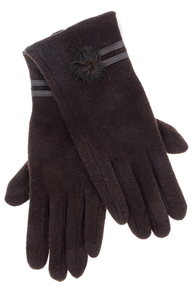 POPCORN Brown Wool Women Gloves