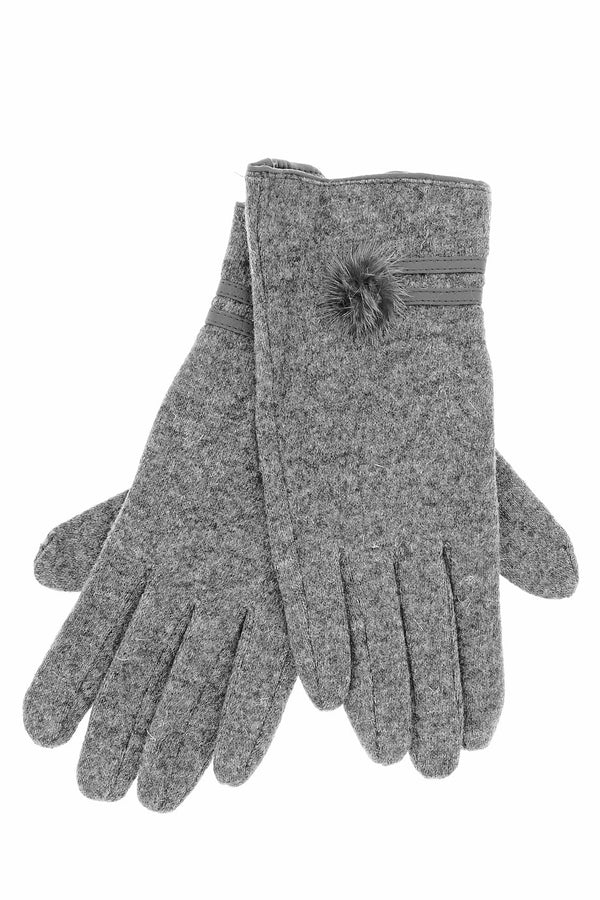 POPCORN Grey Wool Women Gloves