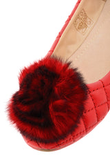 POPCORN Red Quilted Ballerinas