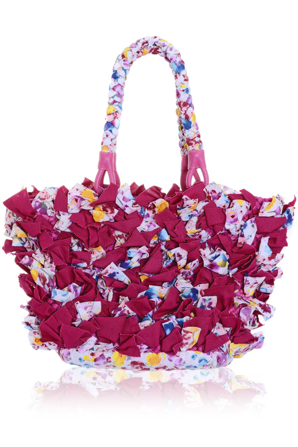 ROSEBAY Fuchsia Straw Canvas Bag