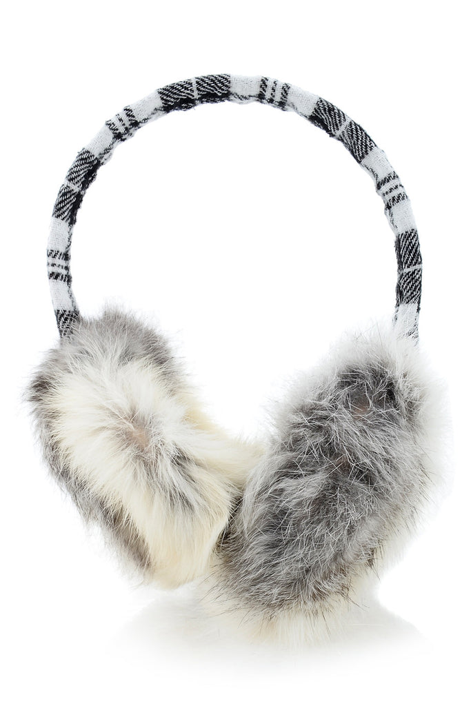 SCOTTISH Black Rabbit Fur Women Earmuffs
