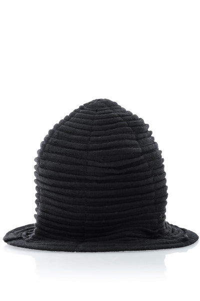 AUSTRIA Black Wool Cloche Hat
