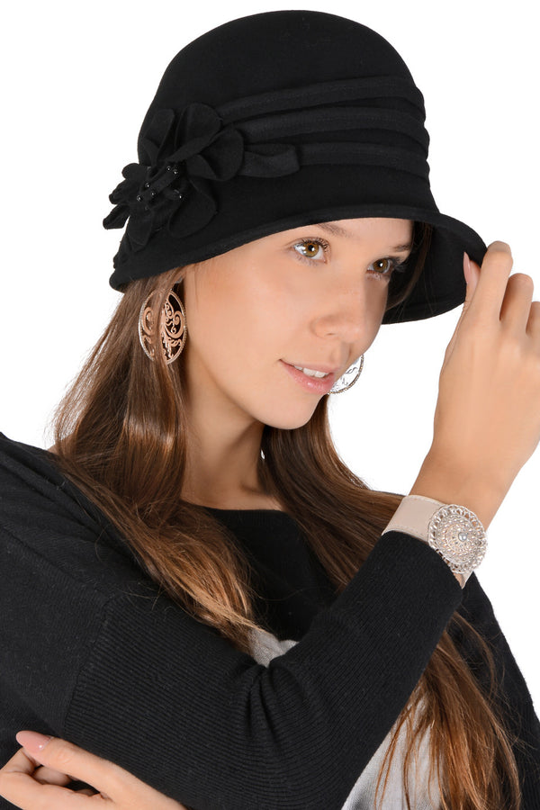 ESTELLA Black Flower Cloche Hat