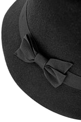 JUNIPER Black Bow Cloche Hat