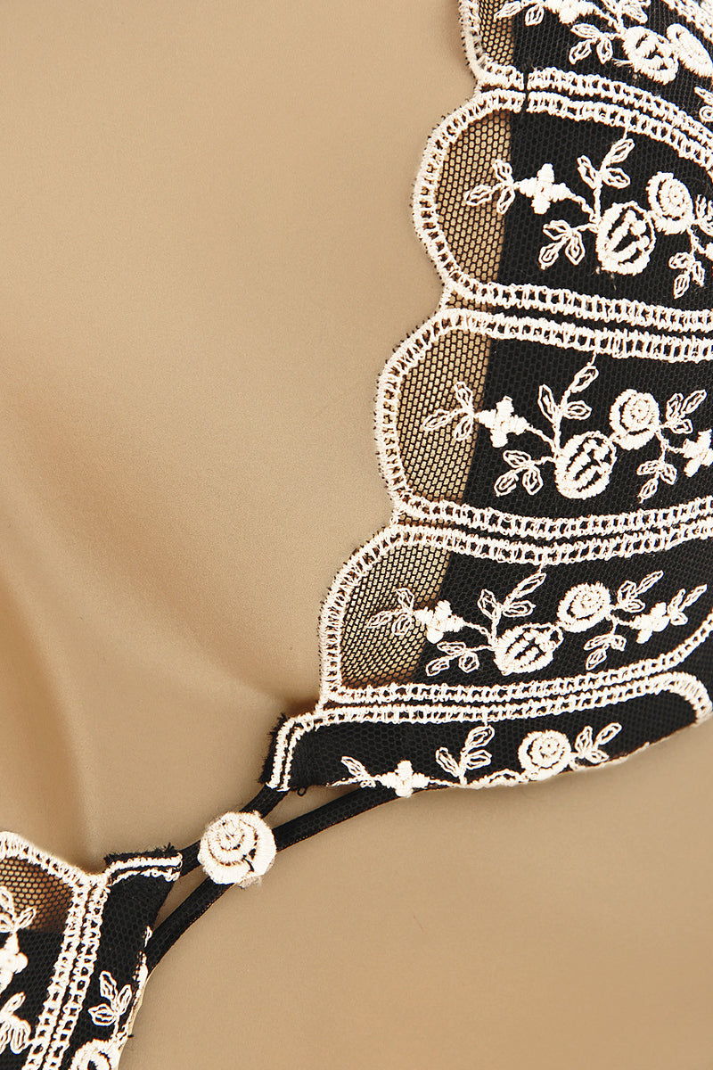 ROSE Embroidered Black Bra