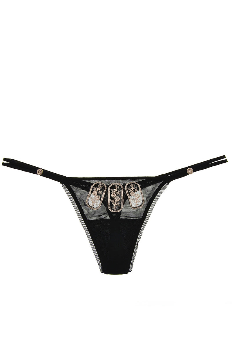 ROSE Embroidered Black Thong