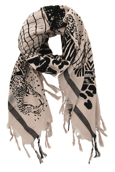 JUNGLE Printed Beige Cotton Silk Printed Woman Scarf