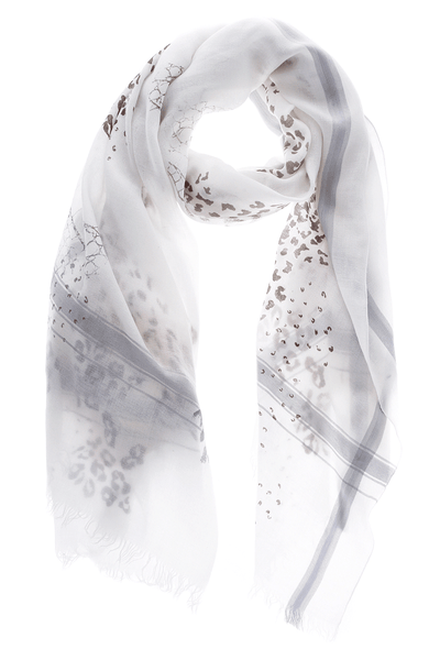 JUNGLE White Grey Wool Woman Scarf
