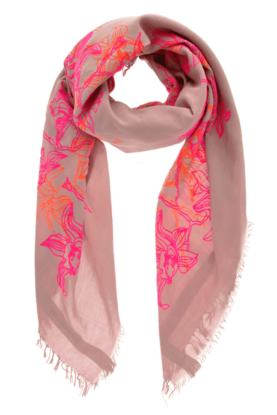 LILLIES Fluo Pink Flock Silk Cotton Woman Scarf