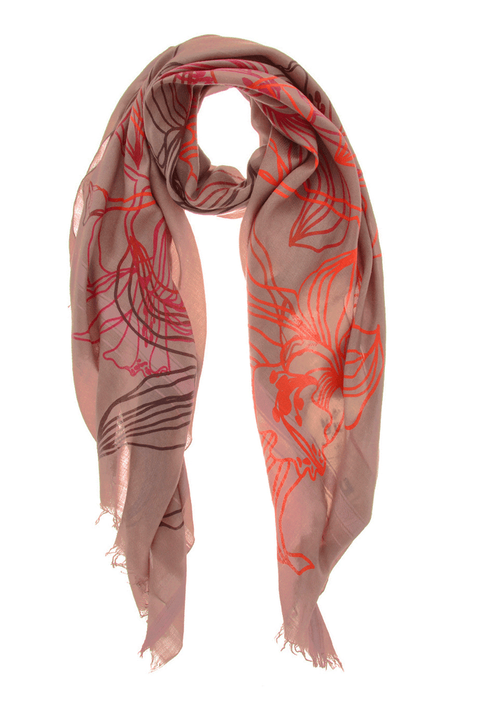 LILLIES Lilac Fluo Red Flock Wool Woman Scarf