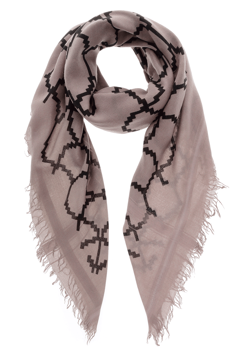 ROME Taupe Black Wool Woman Scarf