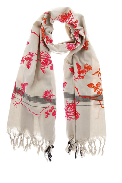 LEIGH & LUCA Woman Scarf - ROSES Red Pink Cotton Silk Woman Scarf