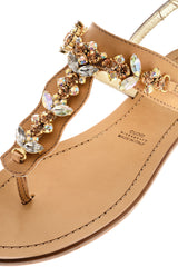 SHASHA Bronze Crystal Sandals