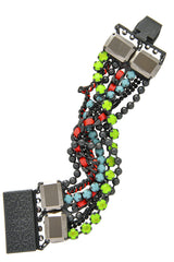 LK DESIGNS CROSSOVER Multi Color Crystal Bracelet